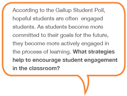According to the Gallup Student Poll, hopeful students are often engaged students. As students become more commited to their goals for the future, they become more actively engaged in the process of learning. What strategies help encourage student engagement in the classroom?